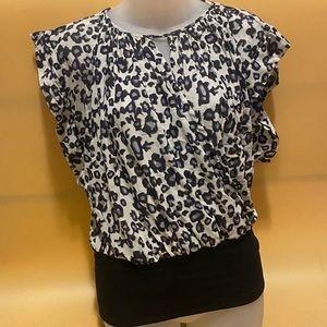 Leopard Print Grey Blouse